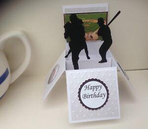 Details About Handmade Baseball Themed Birthday Pop Up Card