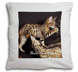Bengal Kitten 'Love You Mum' Soft Velvet Feel Cushion Cover With I, AC-43lym-CPW
