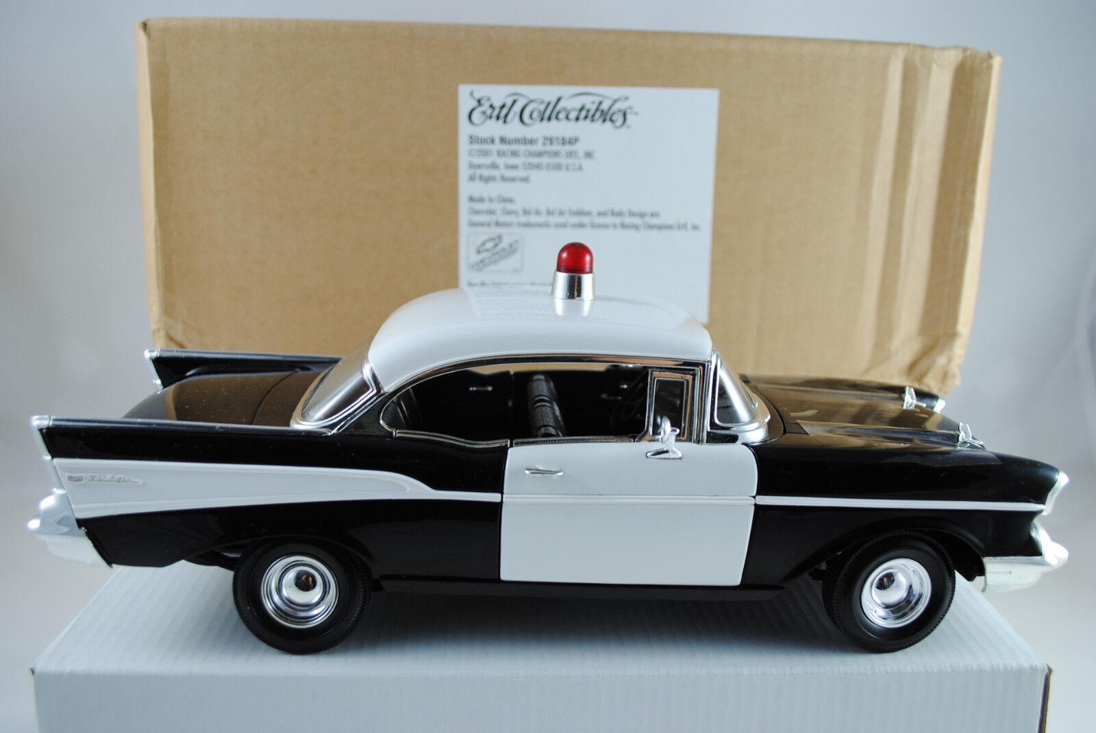 1 18 - ERTL 1957 CHEVY BEL AIR HARD TOP POLICE CAR Rarità Nuovo Scatola Originale  29184 P