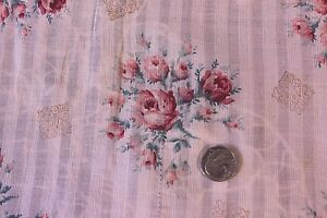 "Linens & Textiles (pre-1930) French Antique Pink Rose Fine Linen Batiste/lawn Fabric~15""lx25""w~dolls,design"