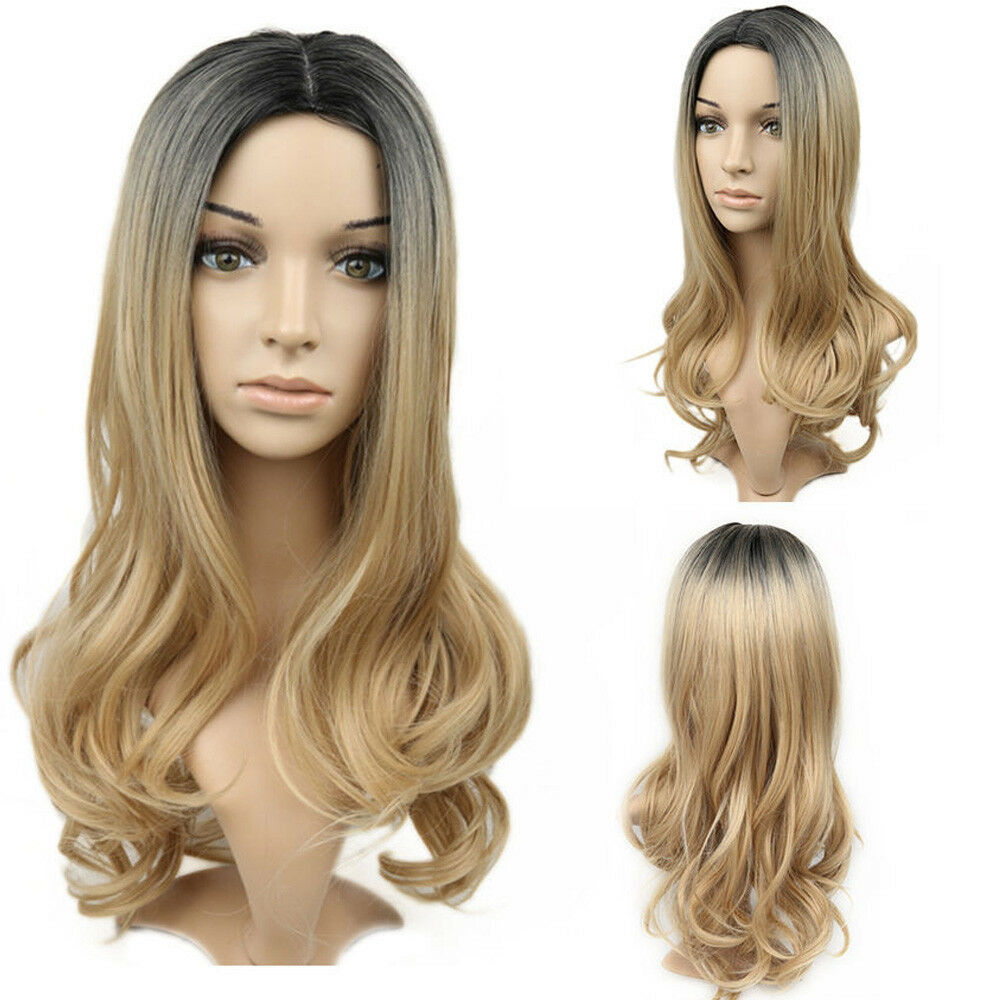 Women Blonde Middle Part Hair Full Wig Cosplay Natural ...