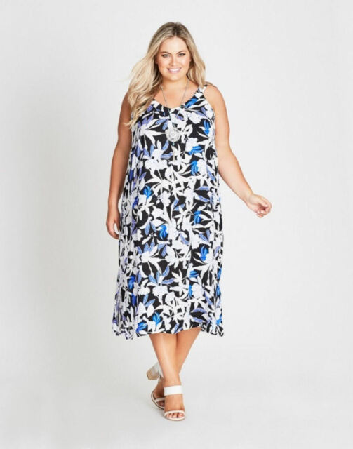 Autograph white Blue black floral SUNDRESS Beach summer Party DRESS 20 NEW