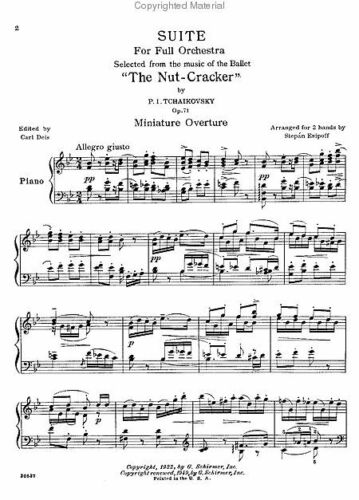 TCHAIKOVSKY-THE NUTCRACKER SUITE FOR THE PIANO MUSIC BOOK OP.71A SCHIRMER NEW!!