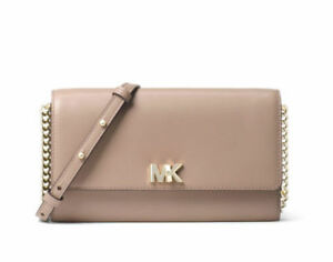 dd08f2e9d0bf Michael Kors Mott XL Wallet on a Chain Crossbody Clutch Bag Truffle ...