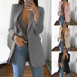 Women-Blazer-Lapel-Casual-Long-Sleeve-Pocket-Suit-Jacket-Coat-Outwear-Plus-Size