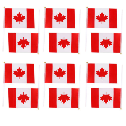 12Pcs Canada Hand Waving Flag Canadian Maple Leaf National Banner Poles 8*5/""