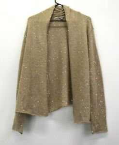 J-Jill-Women-039-s-XL-Long-Sleeve-Open-Front-Polyester-Blend-Knitted-Cardigan-Tan