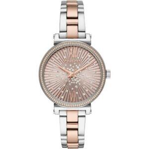 MICHAEL KORS SOFIE Steel Rose Gold Swarovski Silver Womens Wristwatch MK3972