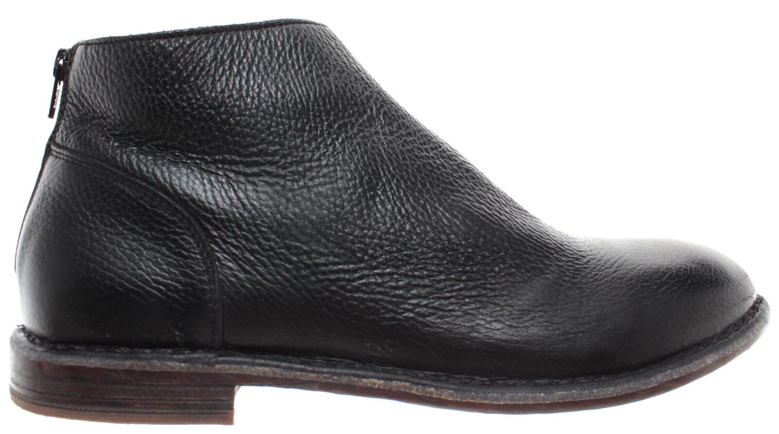 MOMA para Hombre Zapatos botas al Tobillo 14803-Y2 Vitello negro Cuero Vintage Hecho en Italia