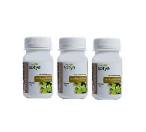 3 x GINKGO BILOBA 100 Comprimidos de 700mg SOTYA - Circulacion Memoria Envio24h  | eBay