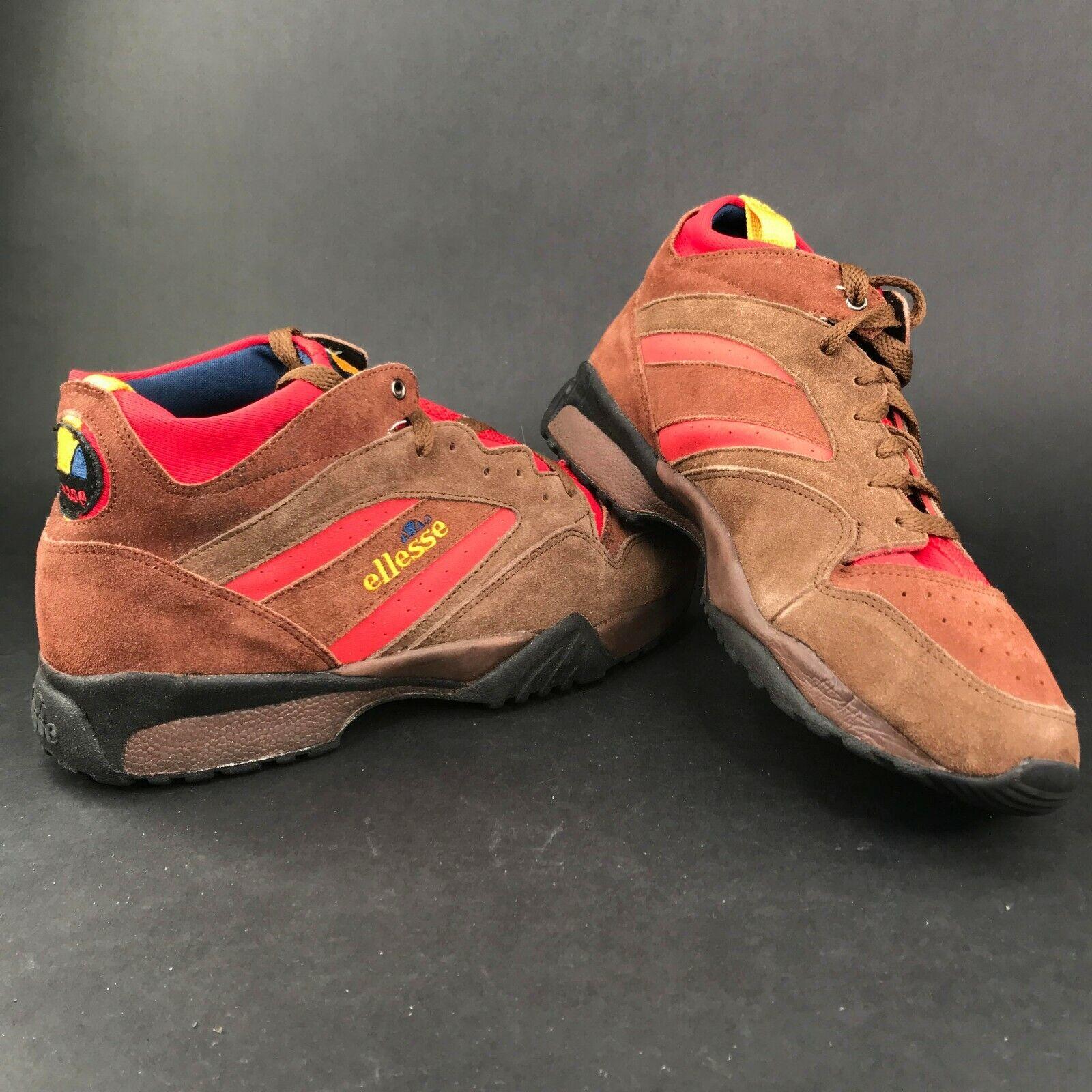 Vintage Ellesse Para Hombre 10M Gamuza Cuero Negro Marrón Zapatos De Senderismo Amarillo Rojo Nuevo con etiquetas