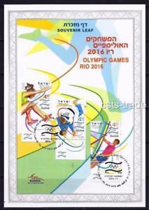 ISRAEL-STAMPS-2016-OLYMPIC-GAMES-RIO-BRAZIL-SOUVENIR-LEAF-CARMEL-671-SPORT-SURF