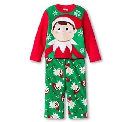 Elf on the Shelf Boys 2 Piece Fleece Green// Red Pajama Set NEW Size Small