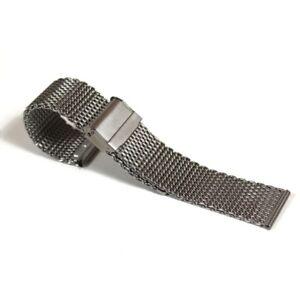 Silberfarbenes-Edelstahlgewebe-Uhrenarmband-20mm
