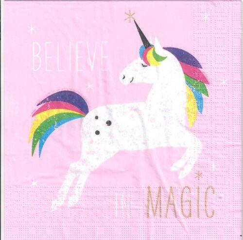 605 Rosa creer en la magia unicornios Unicornio 4 Solo Papel Decoupage Servilletas
