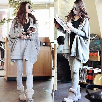 Casual Korean Batwing Sleeve Women Zip Up Hoodies Sweats Outwear Sweatshirt Tops