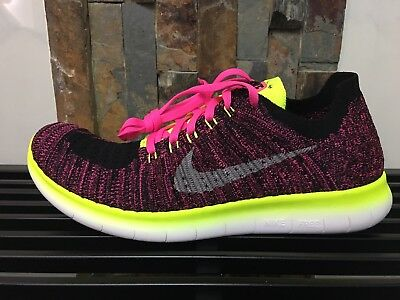 Nike Free RN Flyknit GS Youth Running Shoes Pink Blast Black 834363-600 Sz 4-7Y