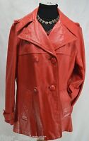 Vintage 70s red leather coat car jacket double breasted Womens S/M button up VTG