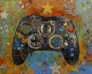 VIDEO-GAME-CONTROLLER-16x20-034-Oil-Painting-Gaming-Abstract-Original-Art-M-Creese