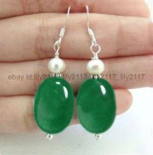 Naturel Ovale Vert Jade /& Real White Cultured Pearl Dangle Boucles d/'oreilles argent crochet