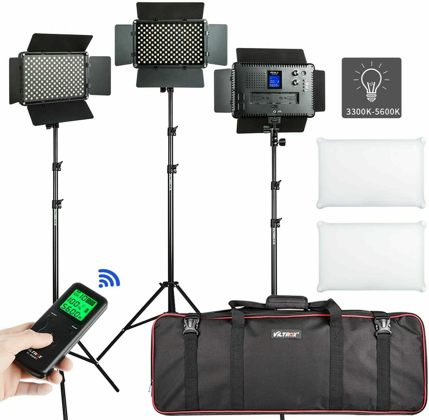 VILROX VL-S192T 50W Bi-color LED Video Light Lamp Kit +Wireless Remote+Stand