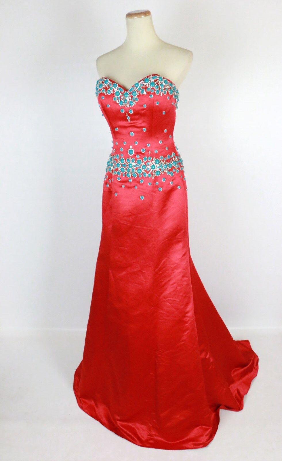 ny  750 Jovani Strapless Satin Dress Long Gown röd Prom Formell Kvällsstorlek 4