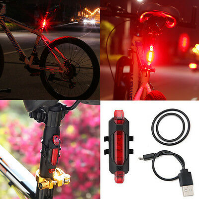 USB Rechargeable Bike Bicycle Cycling Tail Rear Safety Red 5 LED Warning Light
