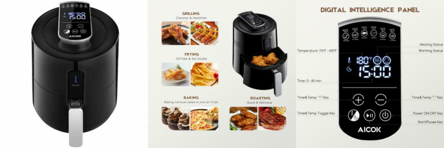 Aicok Air Fryer, Hot Airfry mit Time && Temperaturkontrolle, 6 in 1...