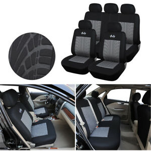 Durable-Auto-Car-5-Seats-Cover-Set-Black-Gray-Flag-Pattern-Interior-Accessories