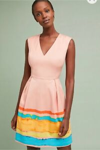 Anthropologie-Tracy-Reese-Women-Dress-S-4-Painterly-Pleated-orange-pink-Stripe