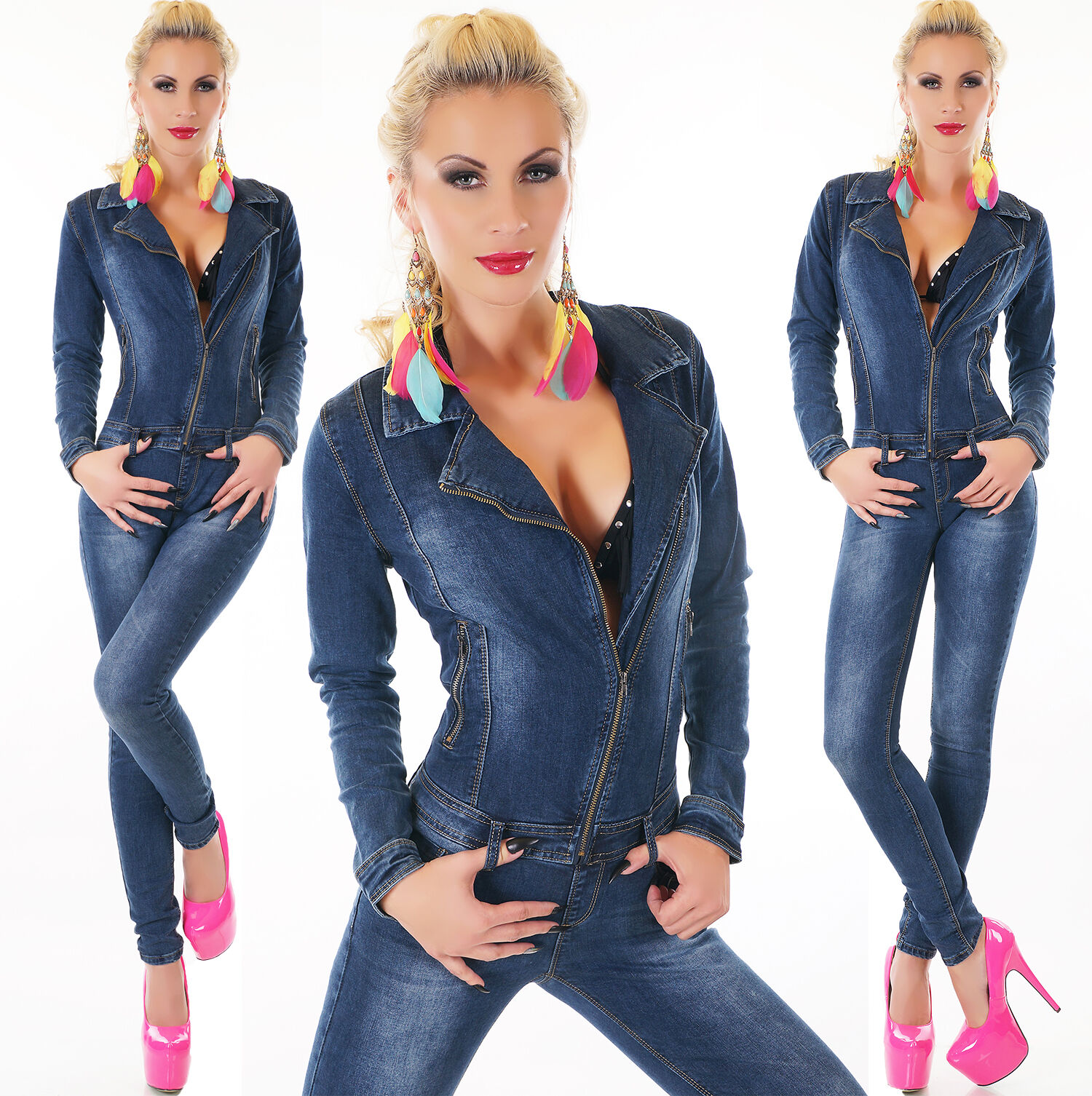 Women's Asymmetrical Zip Stretch Denim Jeans Jumpsuit - s M L XL