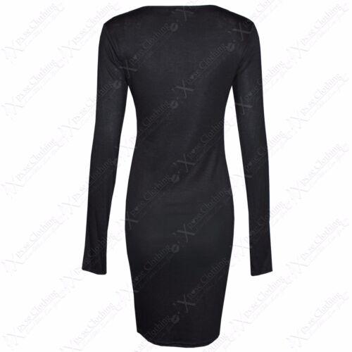 WOMENS LADIES BLACK GREY SKELETON BONES PRINT BODYCON FANCY DRESS HALLOWEEN TOP