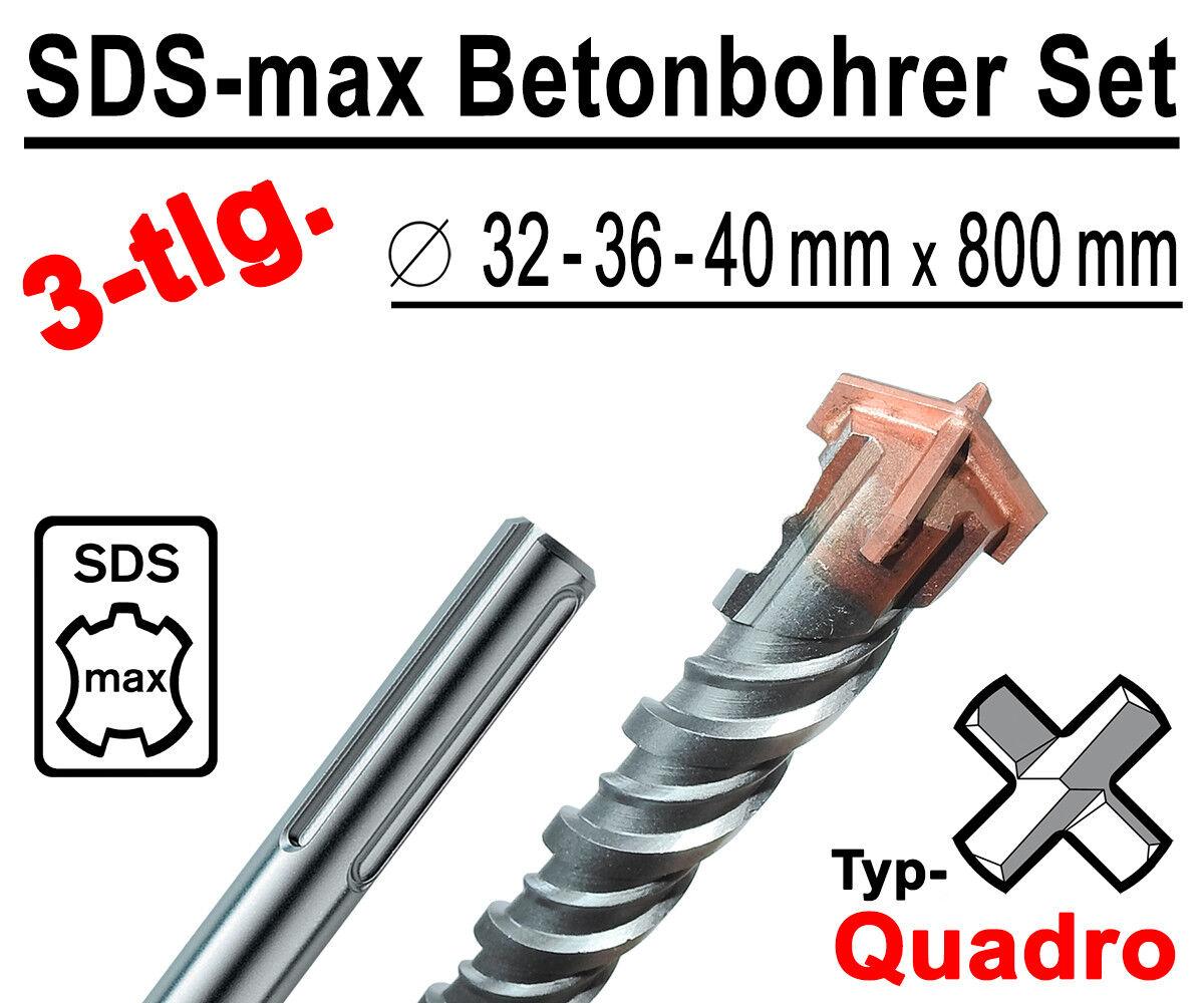 SDS-max Betonbohrer Set 3-tlg Quadro Bohrer Hammerbohrer 32mm 36mm 40mm x 800mm