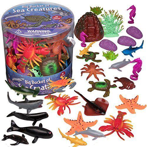 Huge 30 Piece Big Bucket of Sea Creatures Ocean Sea Creature Action Figures