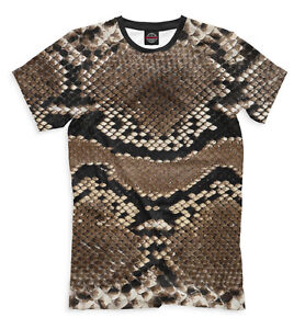 5994c4ec252 Python skin t-shirt - all over print tee brown colored image snake ...