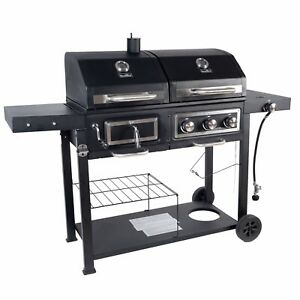 GRILL GAS CHARCOAL COMBO Outdoor Cooking BBQ Dual Fuel ...