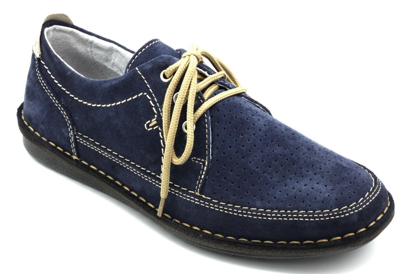 VALLEgreen shoes men ALLACCIATE  IN PELLE NABUK color blue MODA CASUAL n. 45