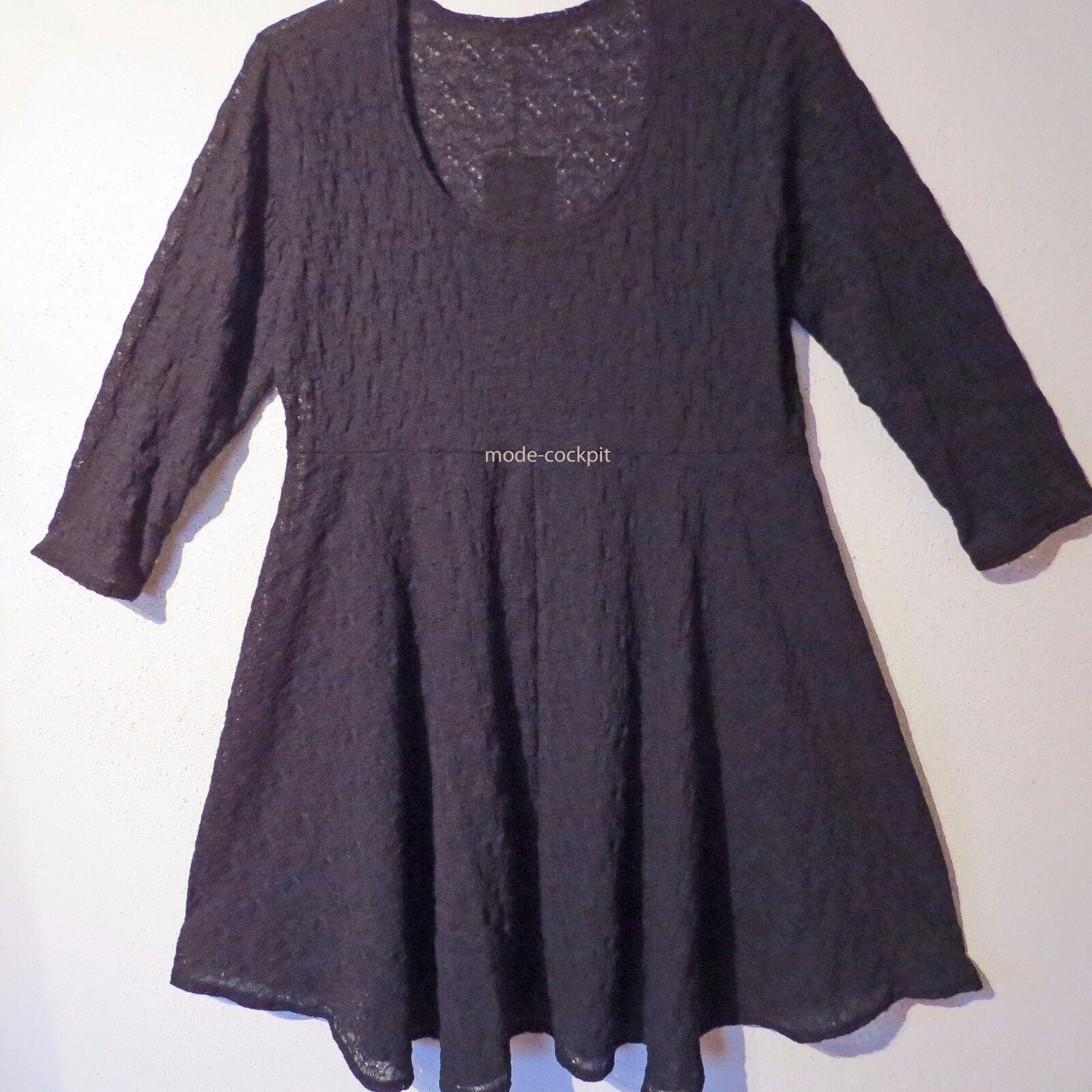 BORIS süße Tunika Long Shirt Lagenlook Stretch Spitze schwarz 46-48 (2)