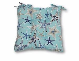 Beautiful Image Is Loading Blue White Grey Starfish Chair Tufted Seat Cushion