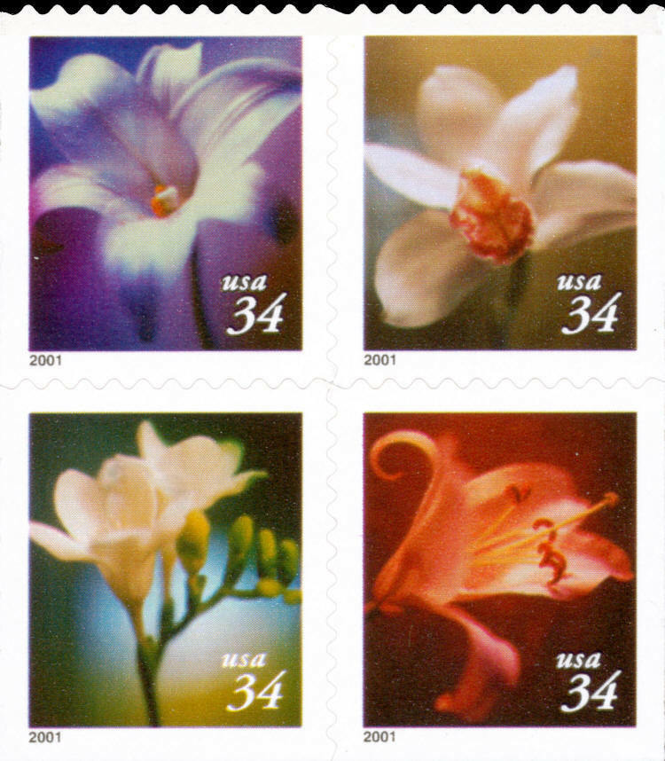 2001 34c Flowers, Booklet Block of 4 Scott 3487-90 Mint