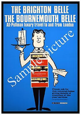 The Brighton Belle Vintage Railway Advertising Poster reproduction.