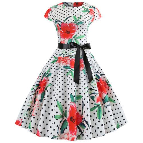 Women 50s 60s Rockabilly Retro Dress Vintage Hepburn Evening Party Swing Dress