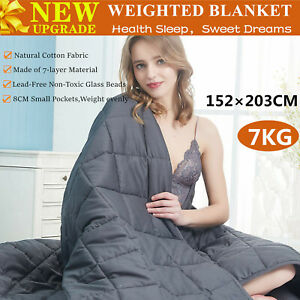 7KG 152×203CM Cotton Bedding Weighted Blanket Heavy Gravity Deep Relax Sleeping
