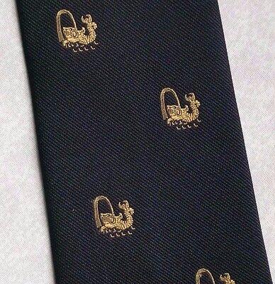 Umorismo Vintage Cravatta Da Uomo Cravatta Crested Club Associazione Società Black Gold-mostra Il Titolo Originale