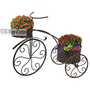 Metal tricycle planter flower plant stand garden bike for Decoration jardin velo