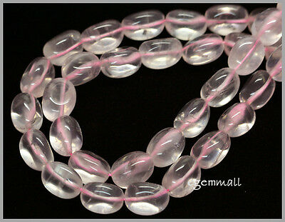 "16"" Ice Rose Quartz Oval Nugget Beads ap.11x14mm #78129"