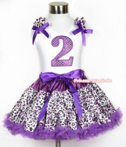 White Sparkle Purple Birthday Number Pettitop Purple Leopard Pettiskirt 1-8Year