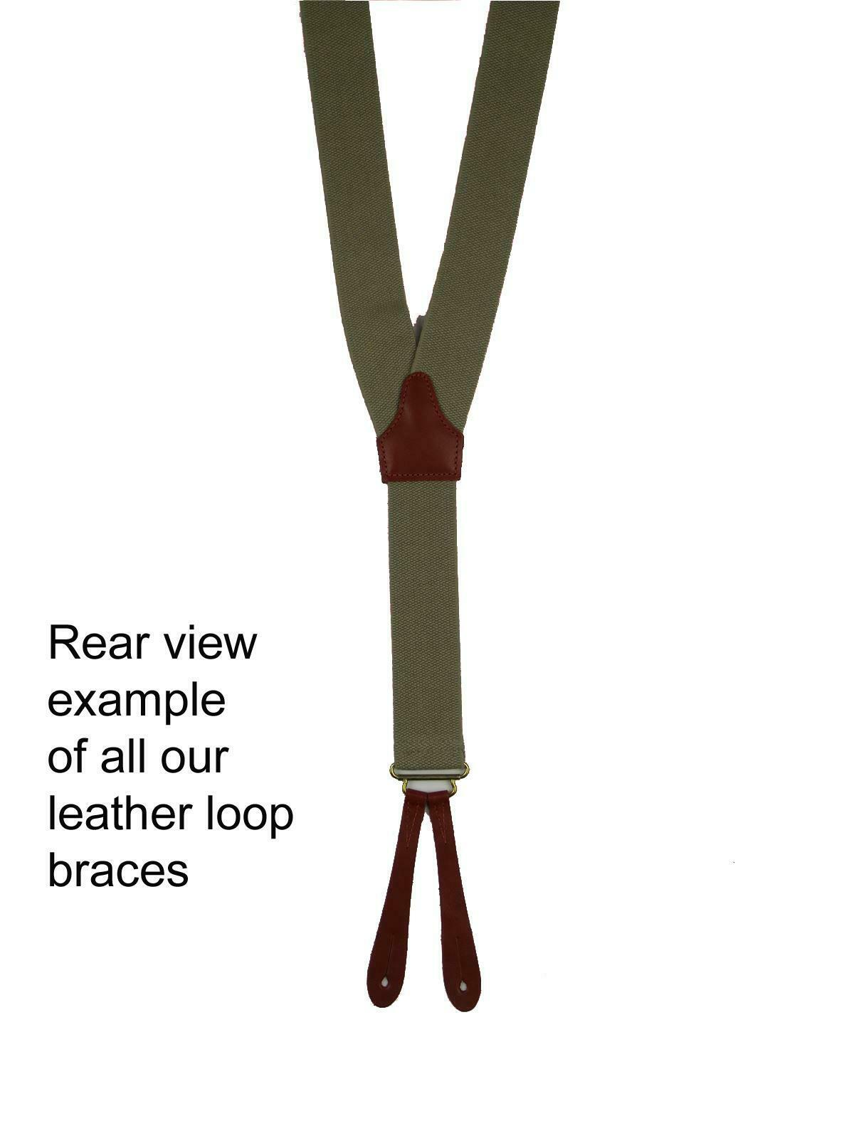 HIGH QUALITY HAND MADE Navy & Blue Real Leather Loop Retro Y-Back Trouser Braces