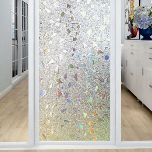 Window Privacy Film Stained Glass Frosted Static Cling Sticker Decor Prevent UV