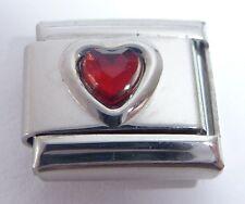 DARK RED HEART GEM Italian Charm - January Birthstone Love 9mm Classic Size GEMS